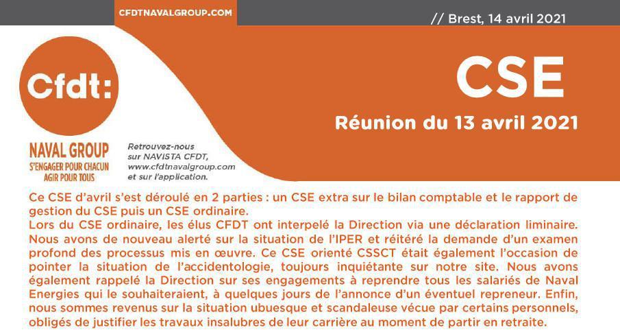 CSE du 13 avril 2021