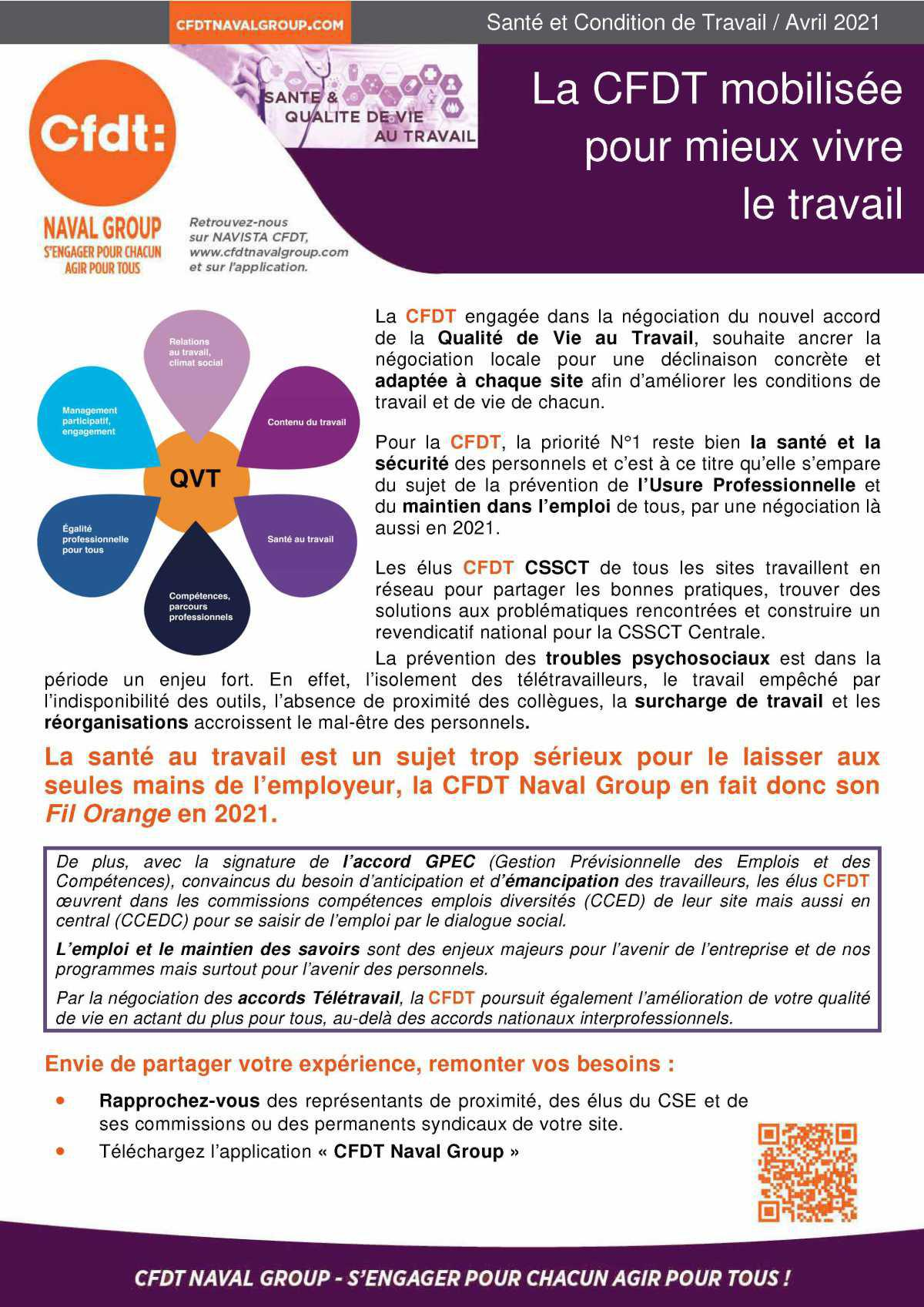 QVT : La CFDT mobilisée pour mieux vivre le travail