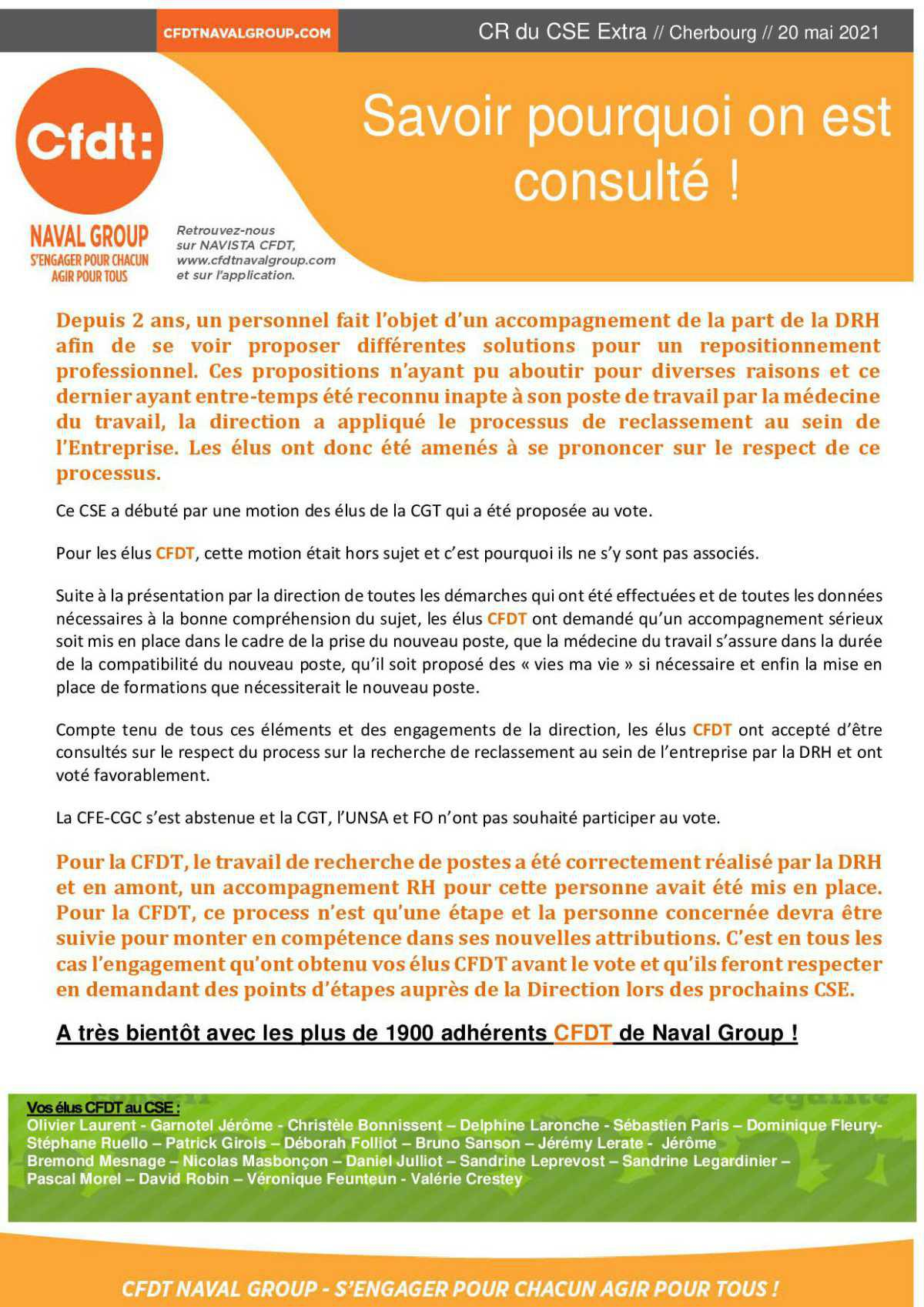 CR du CSE Extra du 20 mai 2021