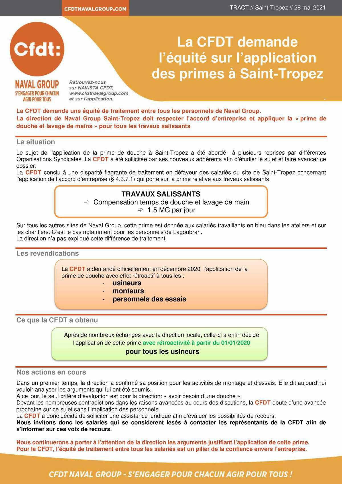 TRACT : La CFDT demande l'équité sur l'application des primes à Saint-Tropez