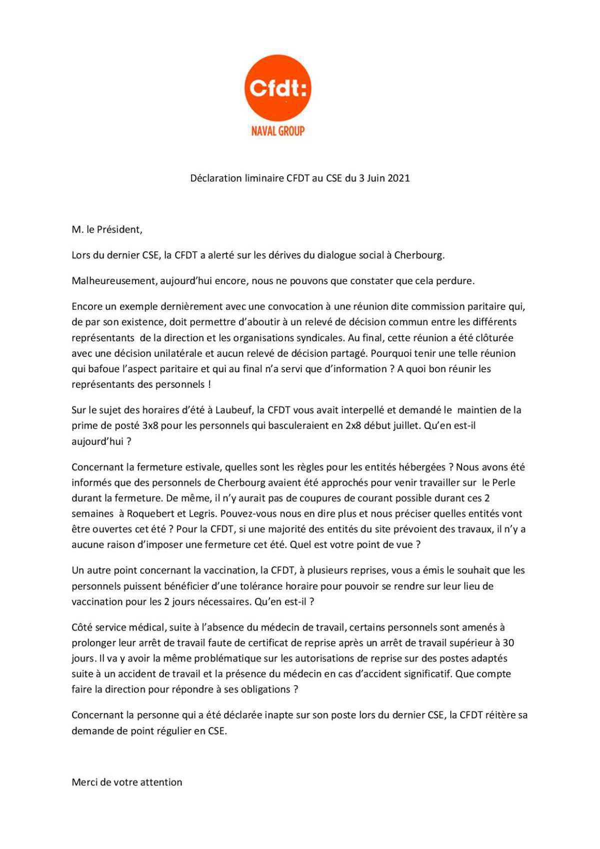 CR du CSE du 3 Juin 2021
