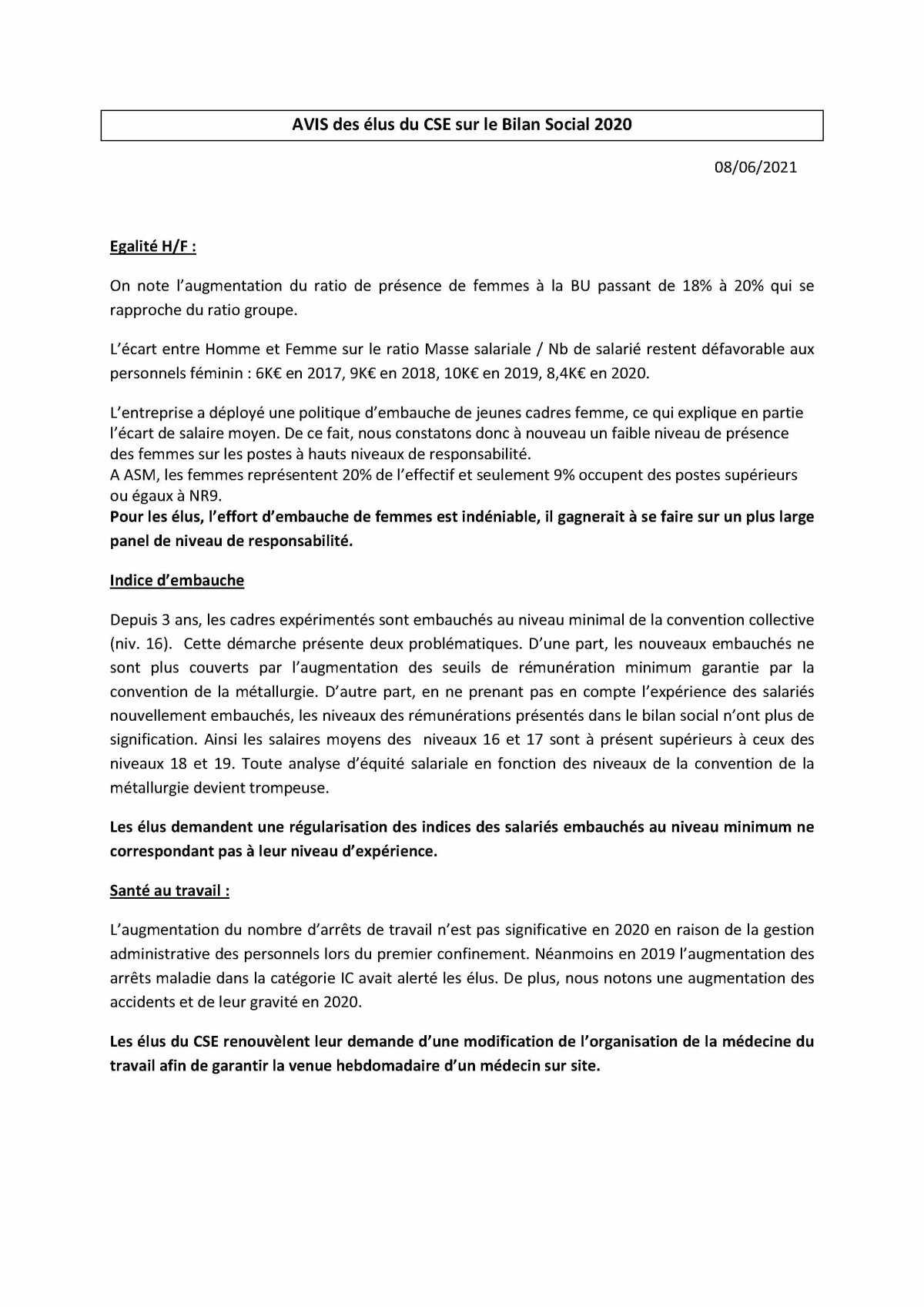 Bilan social : des propositions concrètes au travers de l'avis intersyndical au CSE du 8 juin 2021