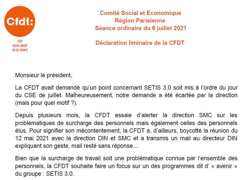 Déclaration liminaire de la CFDT au CSE RP de juillet 2021