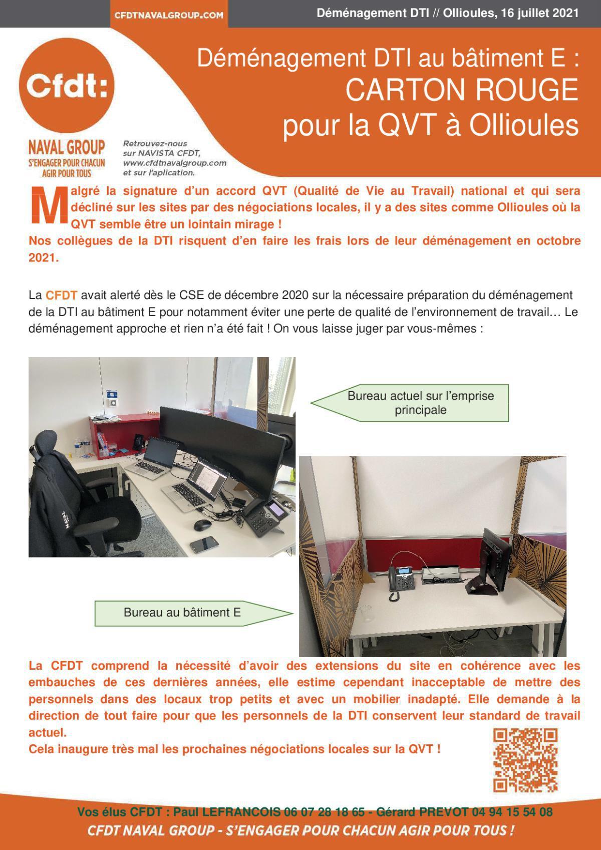 Déménagement DTI au bâtiment E - CARTON ROUGE pour la QVT à Ollioules
