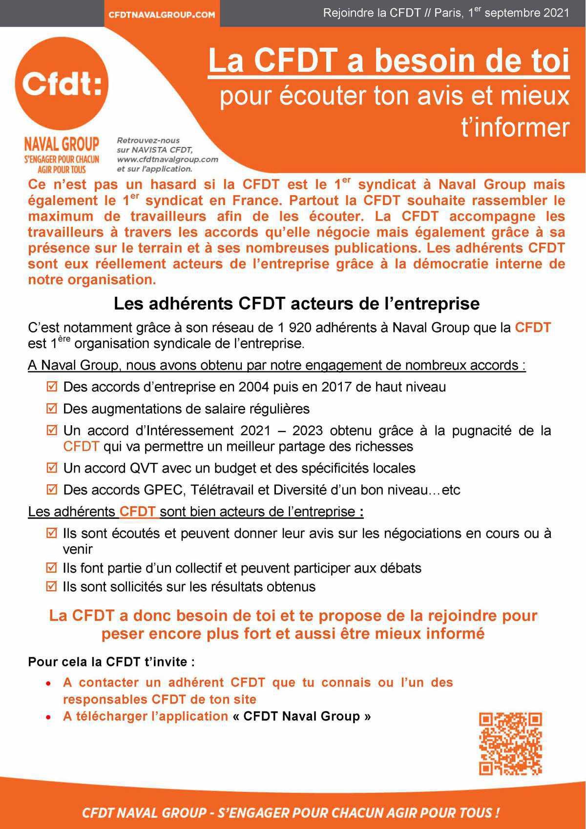 Tract : La CFDT a besoin de toi pour écouter ton avis et mieux t'informer