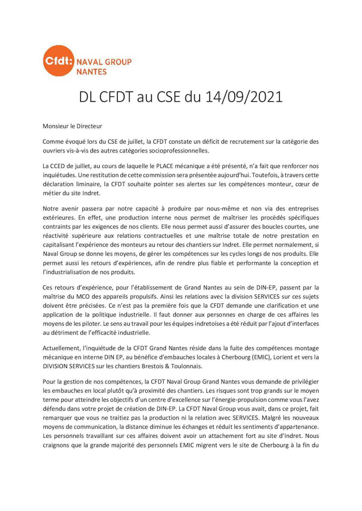 CR du CSE du 14 septembre 2021 + Déclaration Liminaire