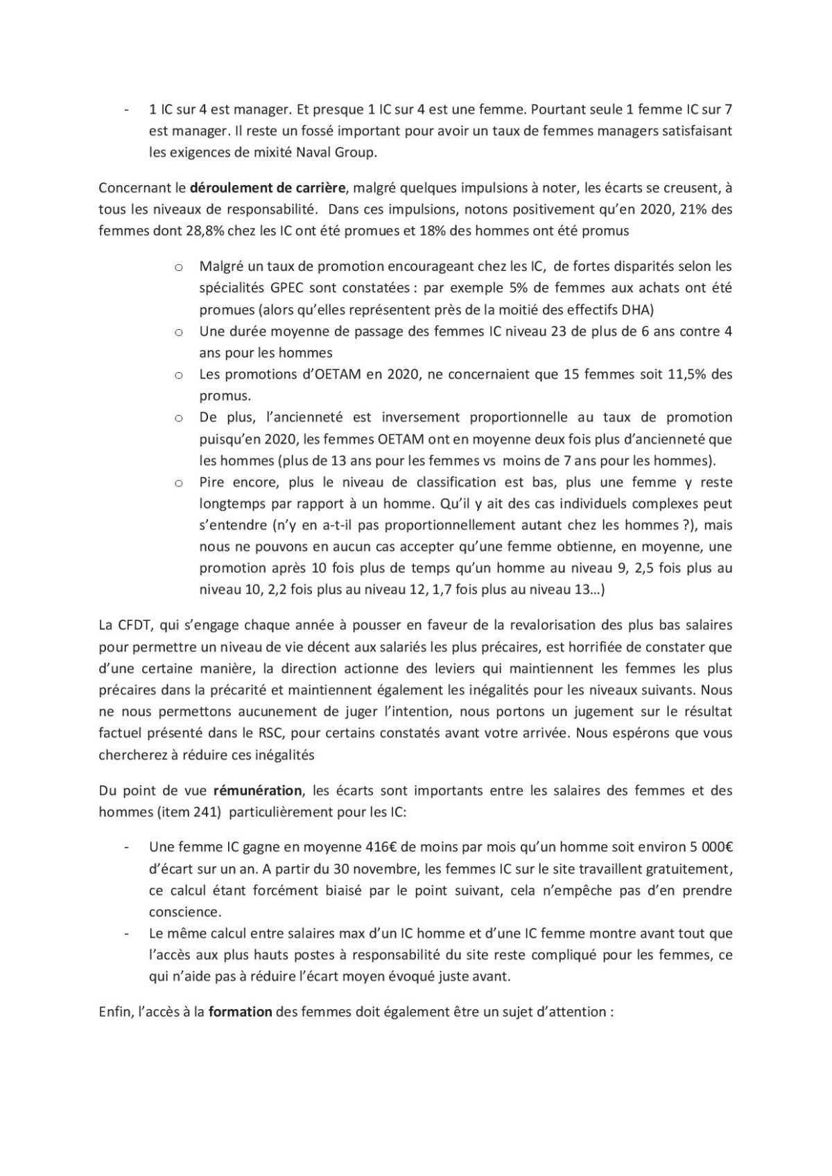 Motion Rapport de Situation Comparé du CSE septembre