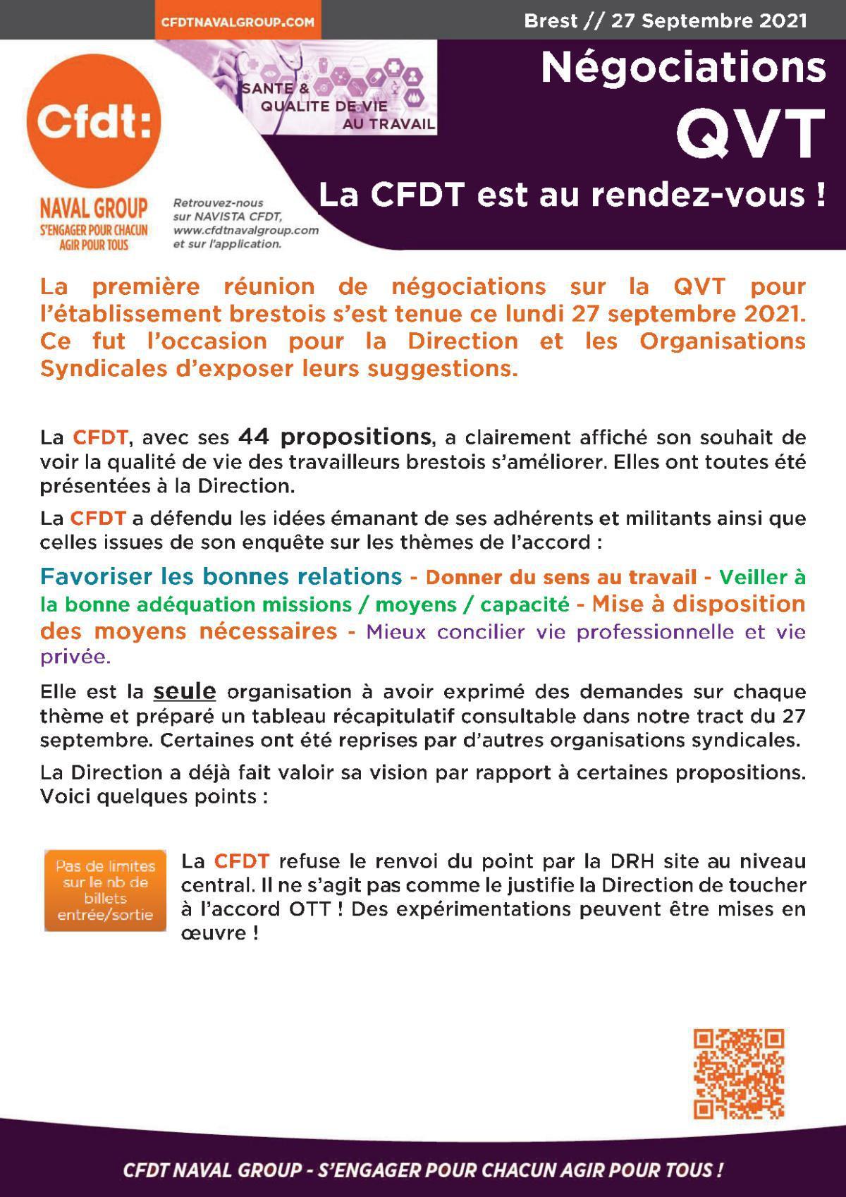 CR de la 1ere réunion de négo QVT Brest