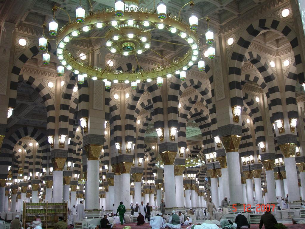 Masjid Al Nabawi in Madinah - Saudi Arabia (interior)