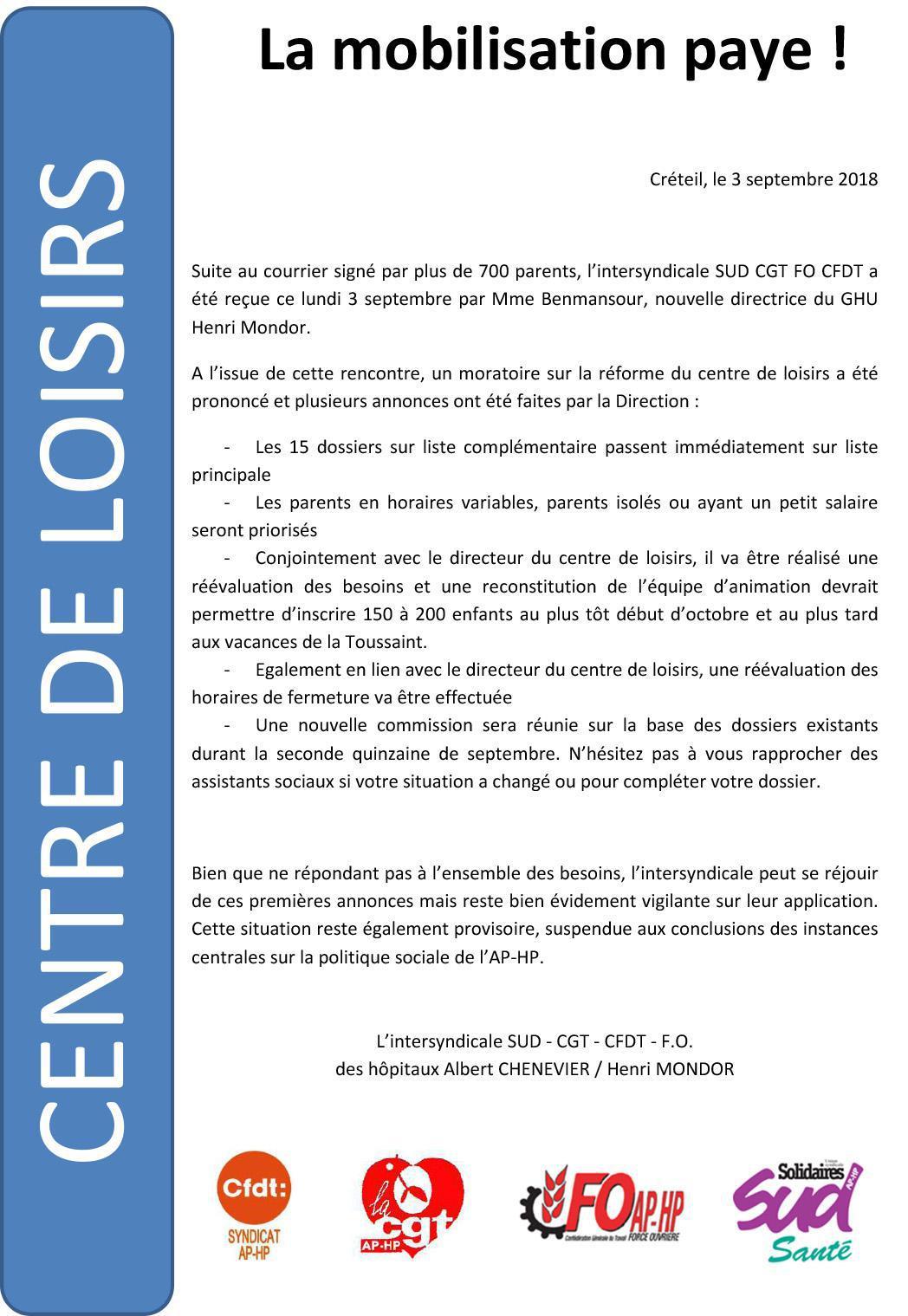 Chenevier-Mondor - Centre de Loisirs - La mobilisation paye !