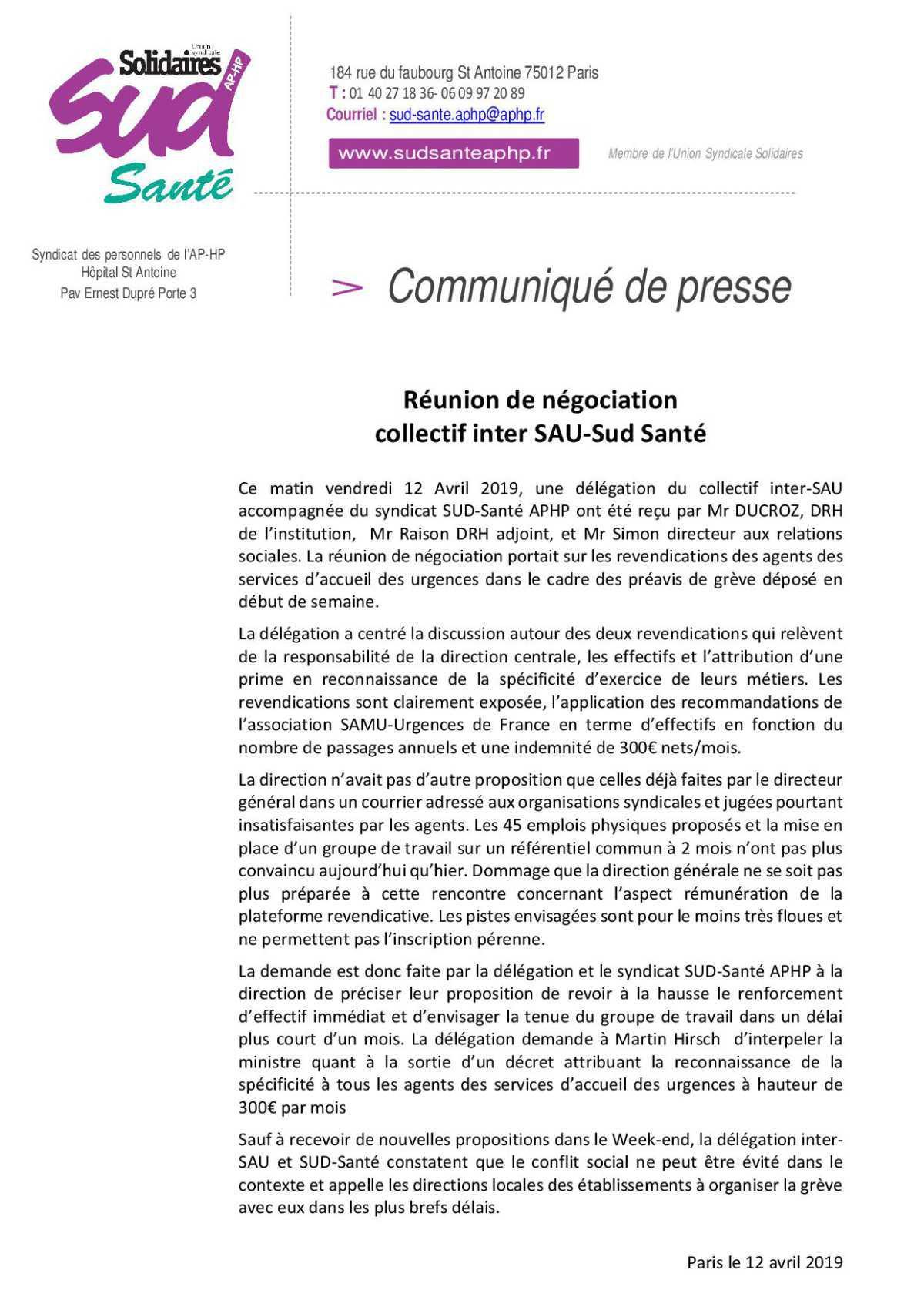 negociation avec la DRH de l'APHP et le collectif inter-SAU