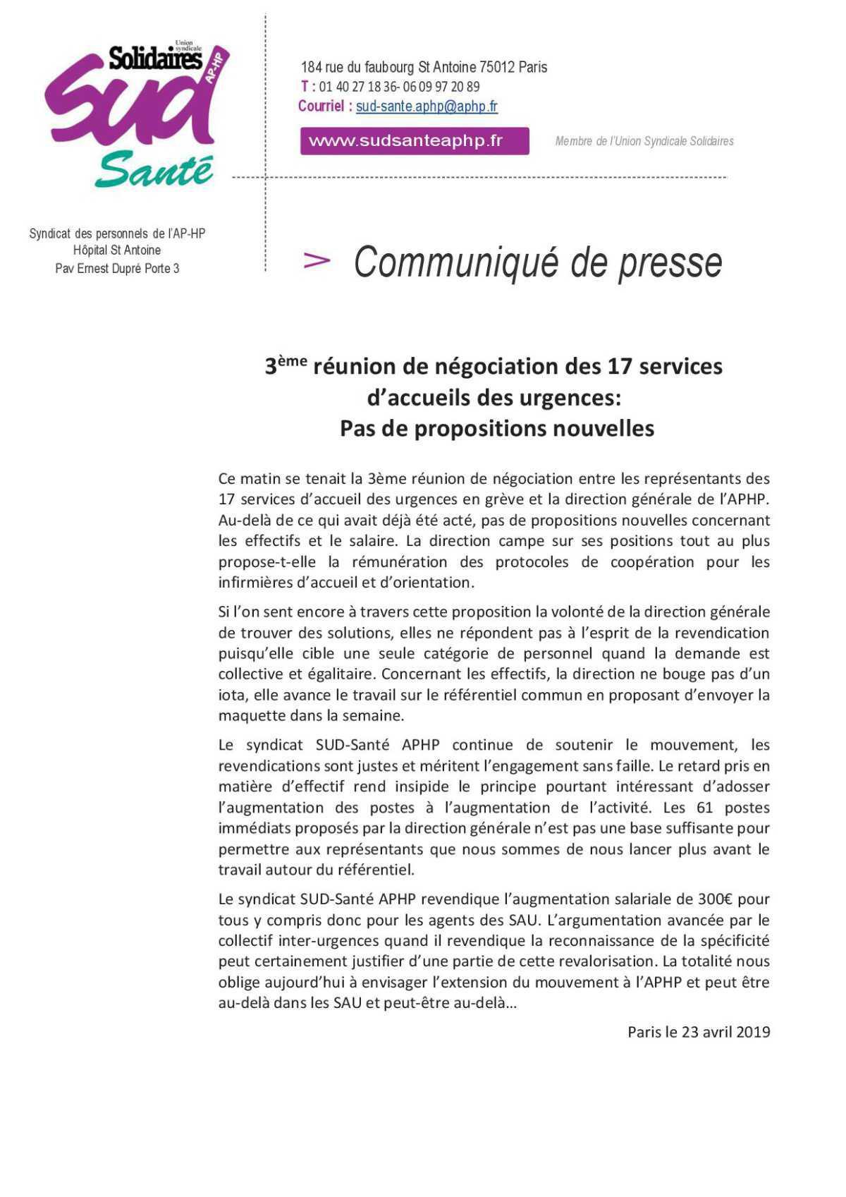 3e négociation et pas de nouvelle proposition