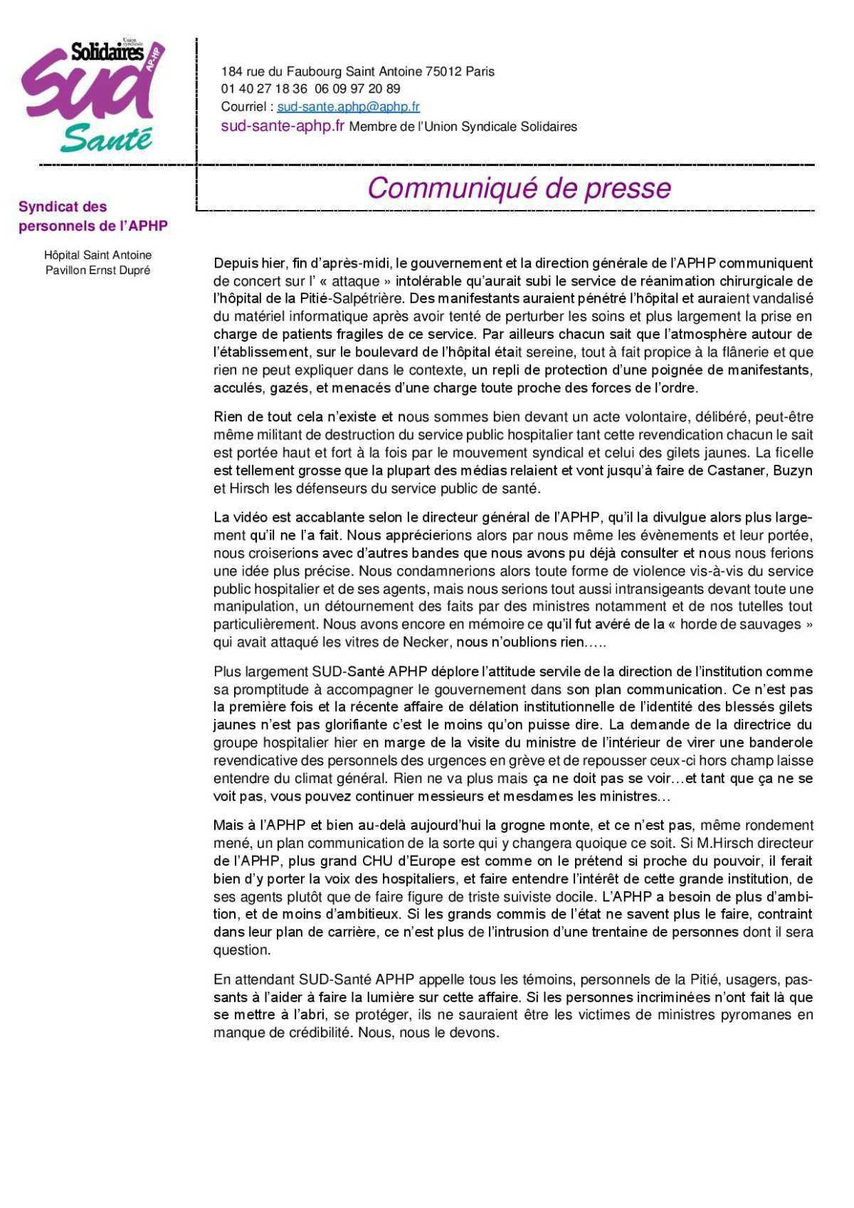 Communiqué concernant les manifestant du 1 mai à la Pitié-Salpétrière