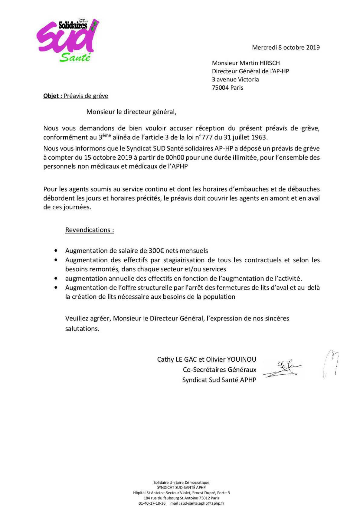 préavis de grève 15 octobre
