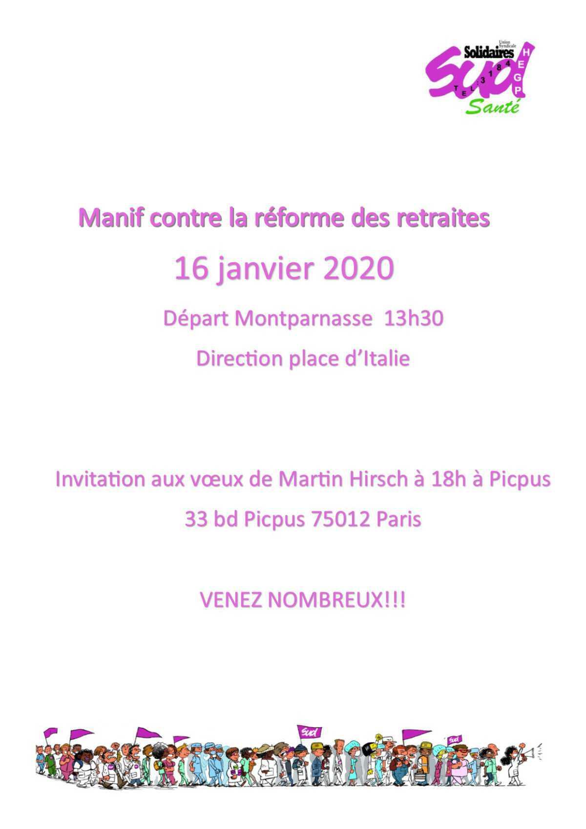 manifestation le 16 janvier 2020