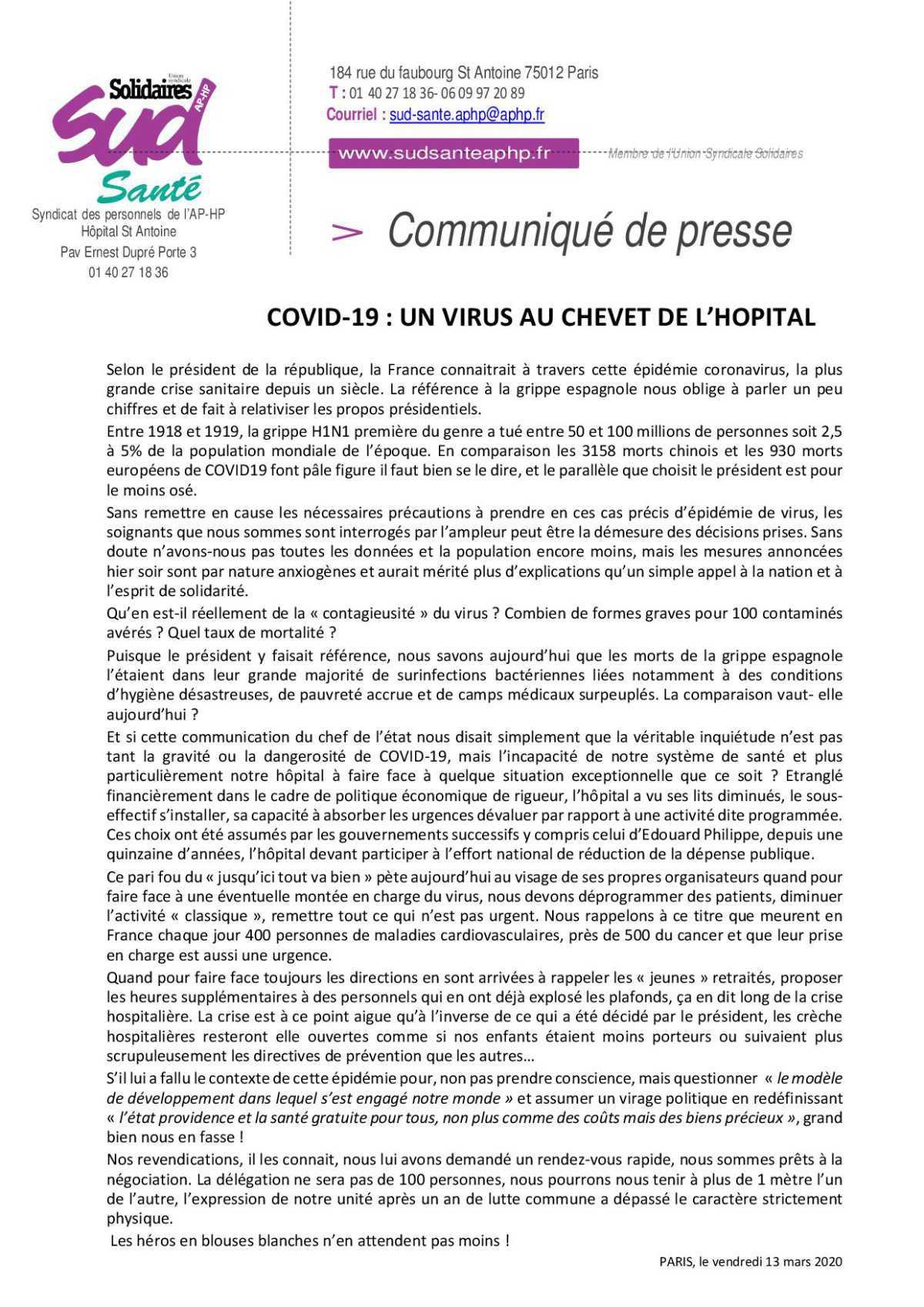 COVID-19 : UN VIRUS AU CHEVET DE L'HOPITAL