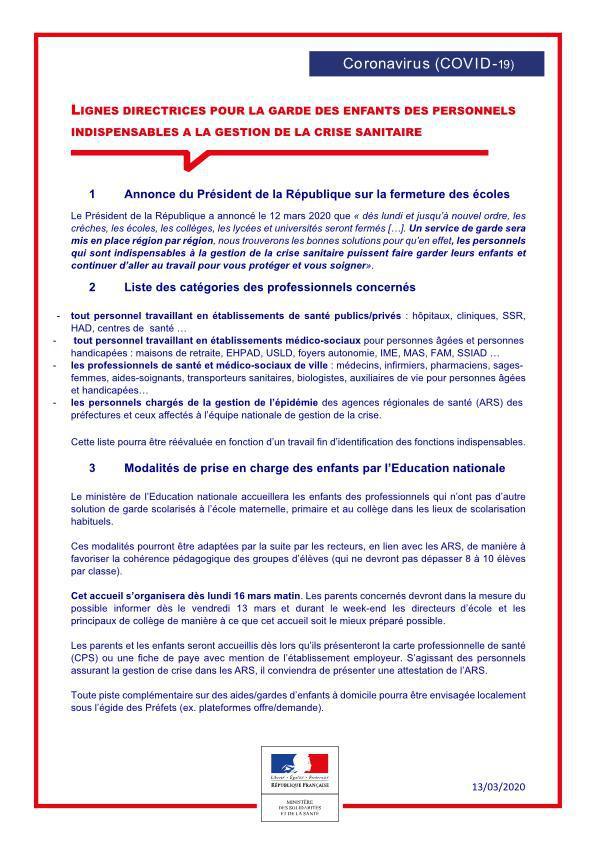 FICHE COVID Ministère de la santé Garde d'enfants