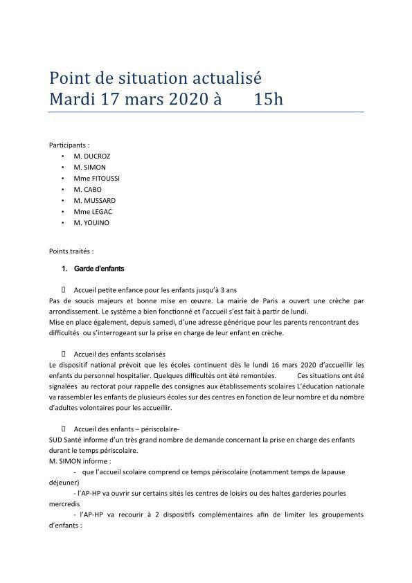 Point de situation actualisé - 17-03-2020