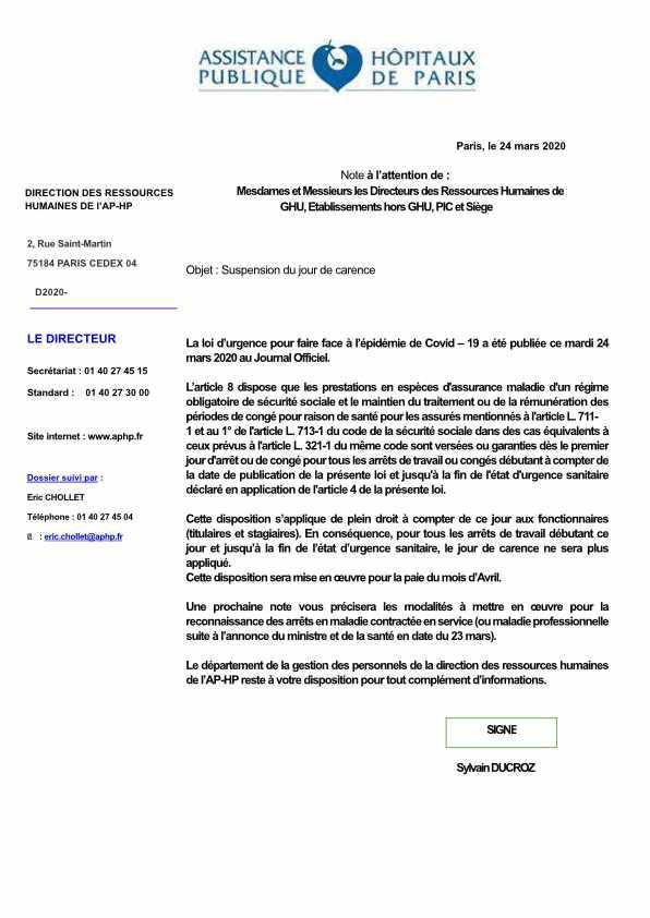 Note du 24 mars 2020 suspension du jour de carence