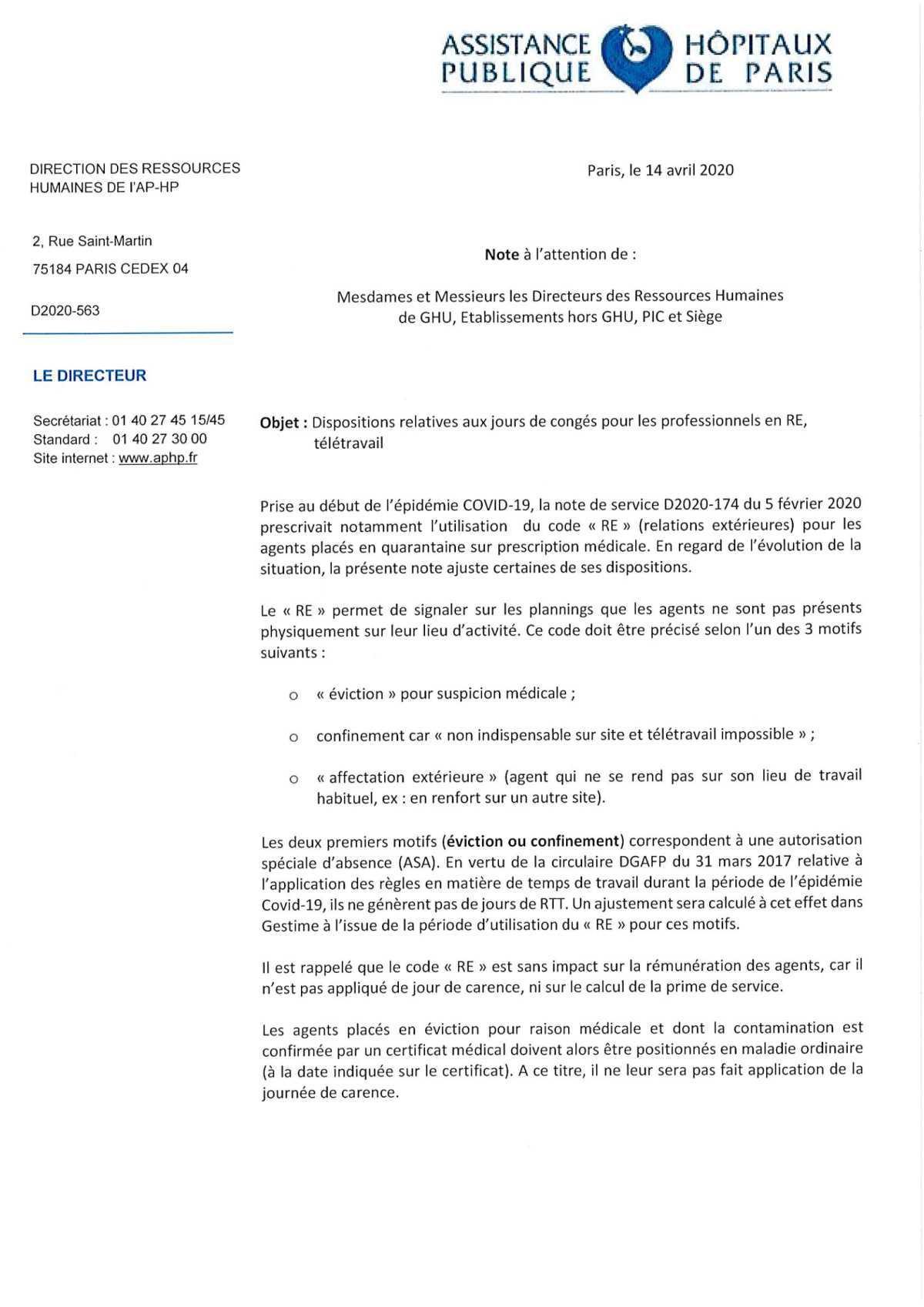 D2020-563 - Dispositions relatives aux jours de congés pour les professionnels en RE, télétravail