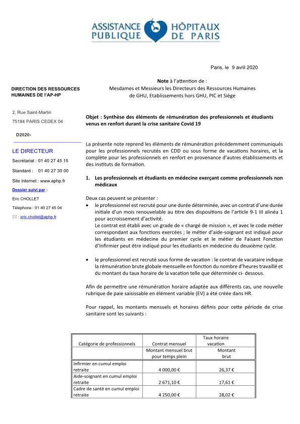 Note rémunération CER contractuels vacataires renforts étudiants période...