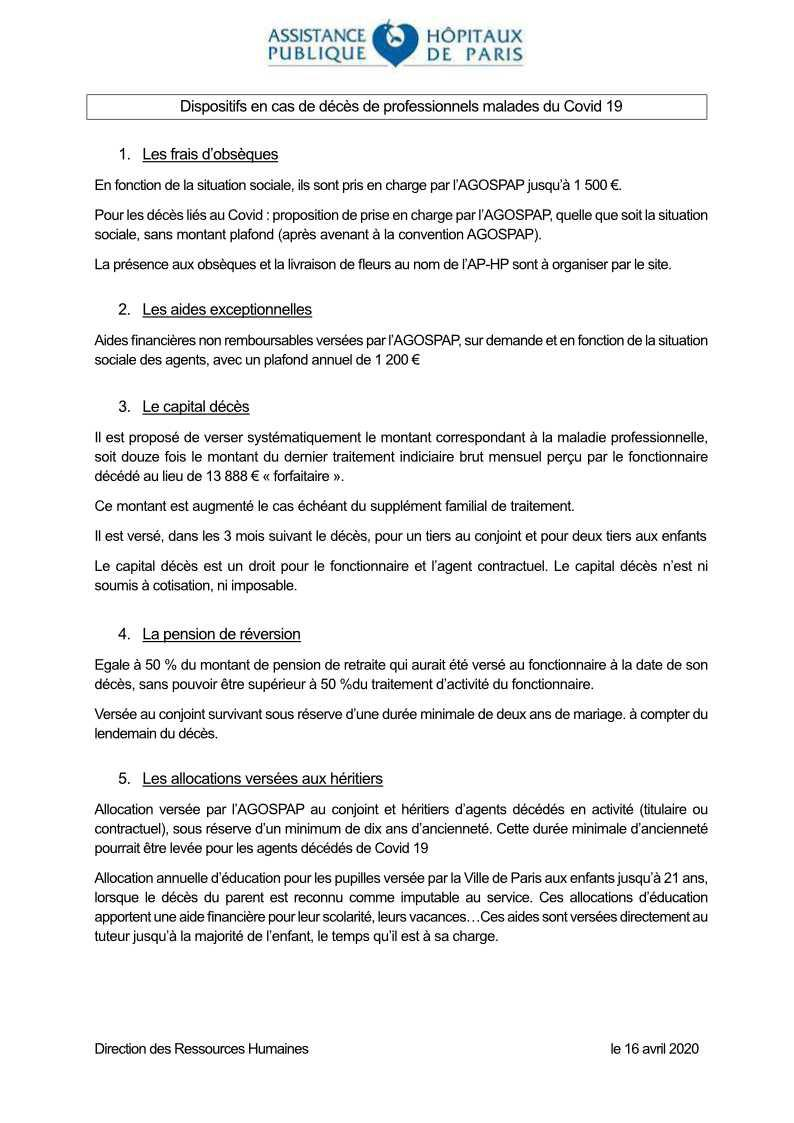 Dispositions en cas de décès de professionnels par Covid