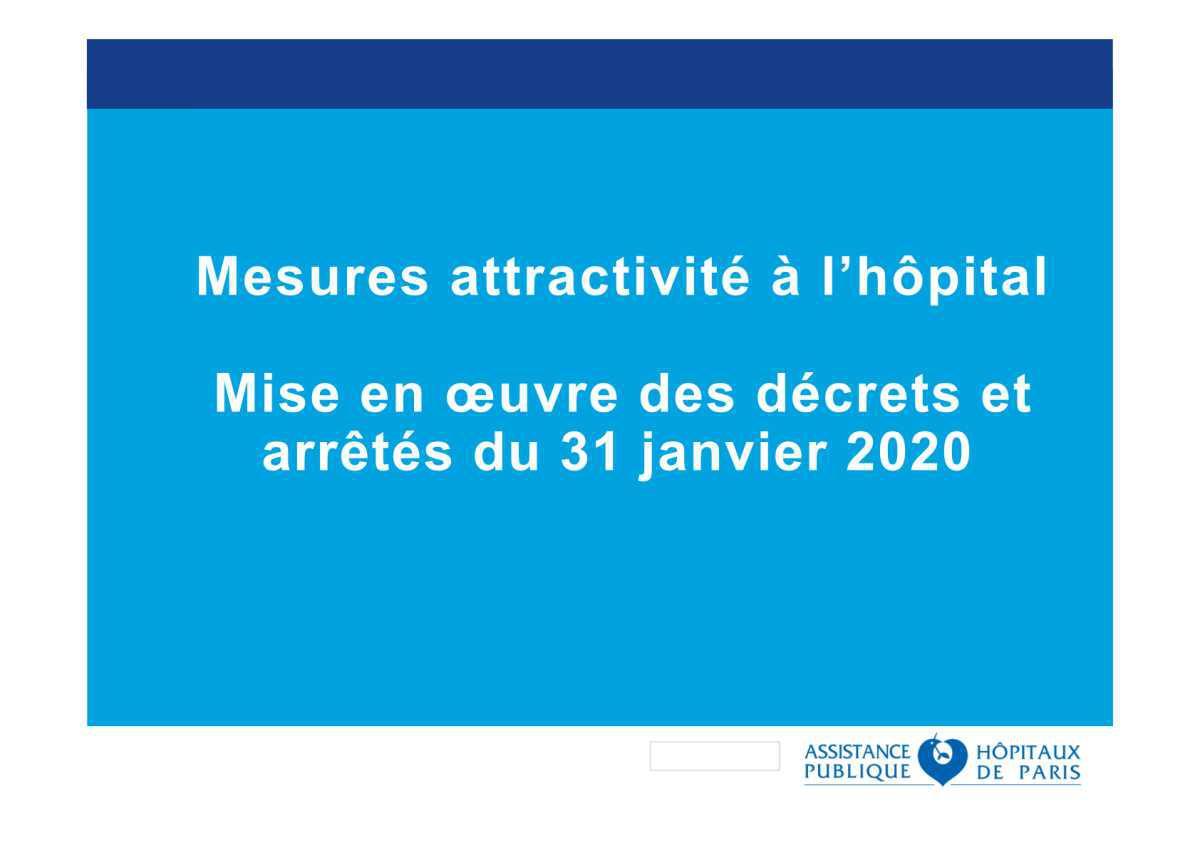 Réunion technique du 04 février 2020 - Primes attractivité à l'hôpital - Janvier 2020