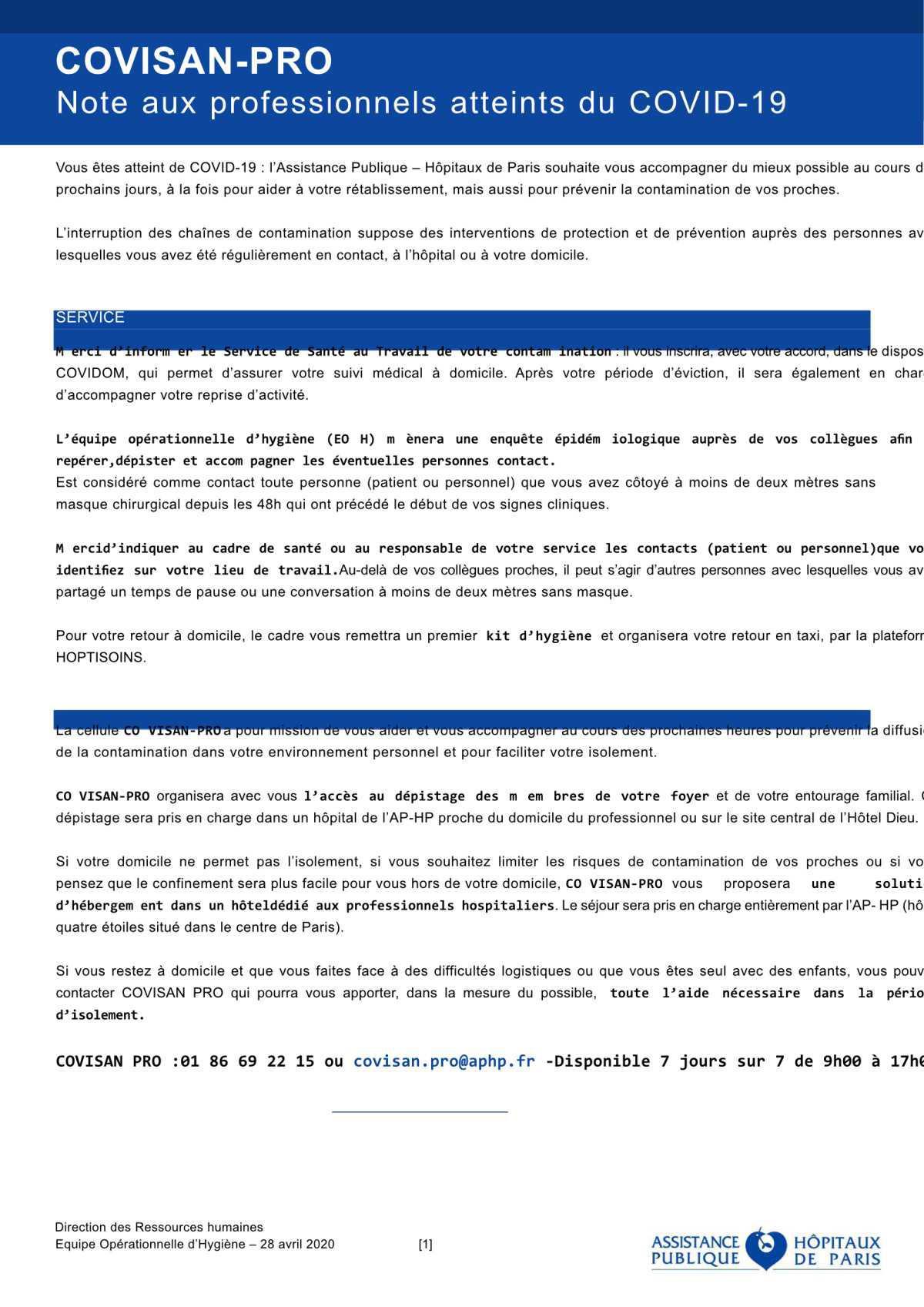 Conseils au personnel Covid19 COVISAN-PRO V7