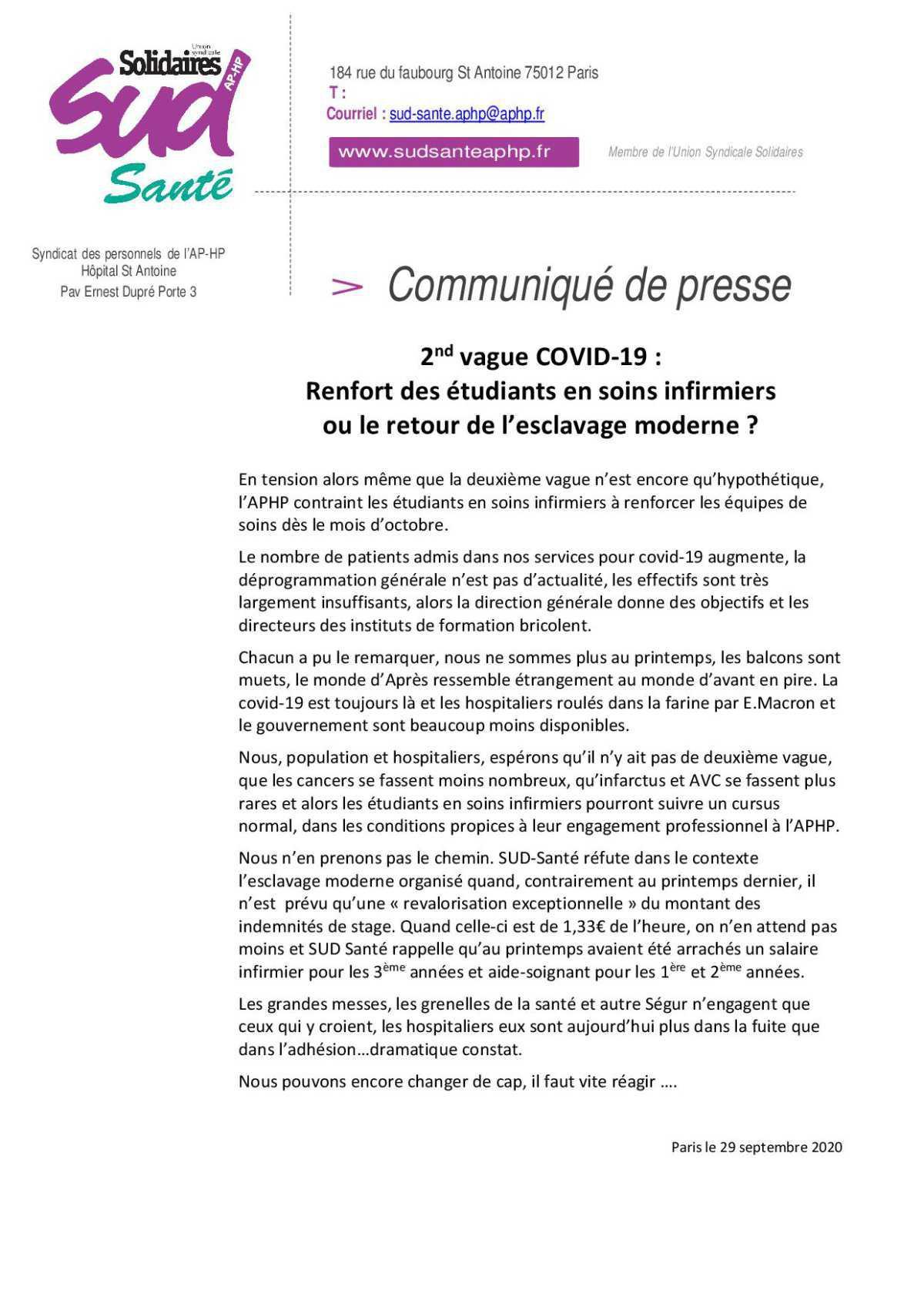 2nd vague COVID-19 : Renfort des étudiants en soins infirmiers ou le retour de l'esclavage moderne ?