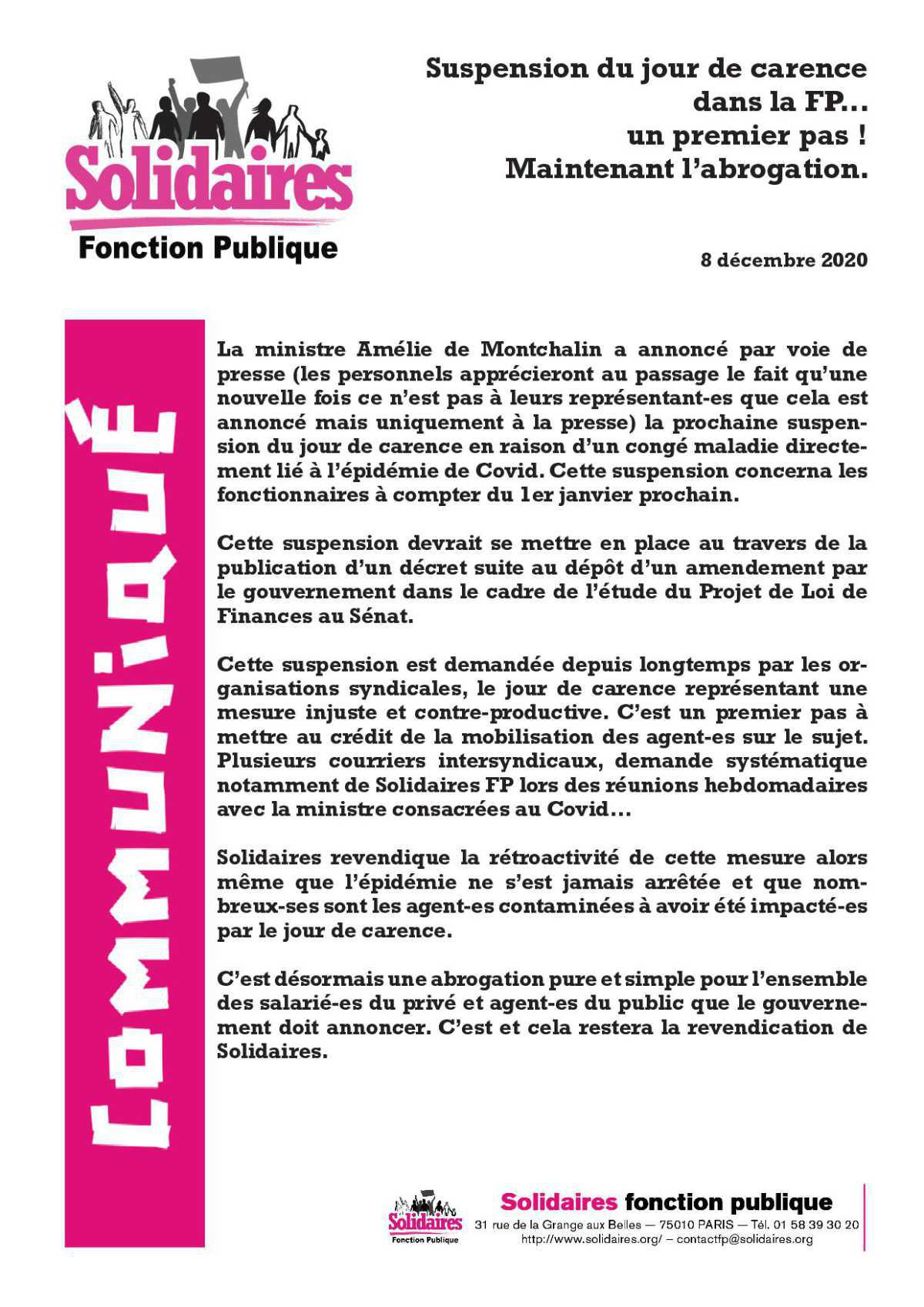 suspension du jour de carence à la FP- un 1er pas