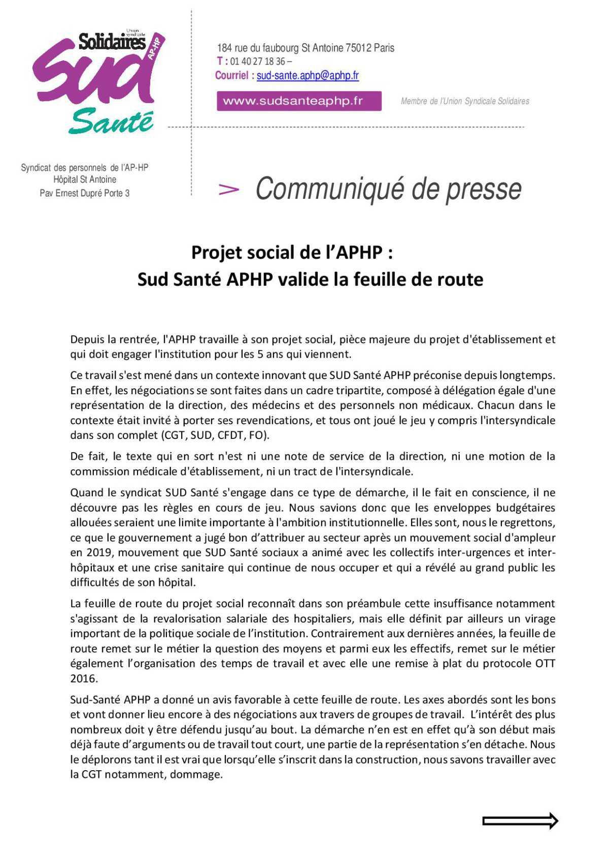 Projet social de l'APHP : Sud Santé APHP valide la feuille de route