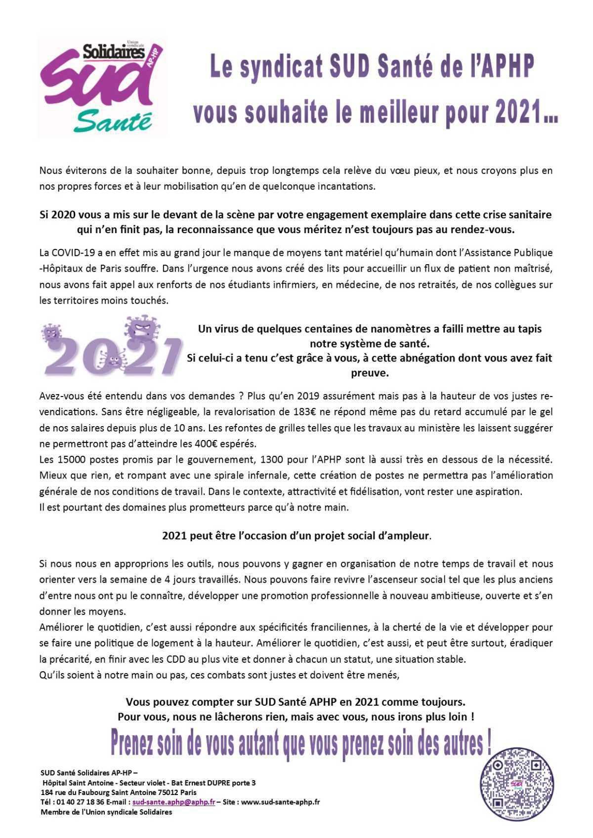 Le syndicat SUD Santé de l'APHP vous souhaite le meilleur pour 2021…