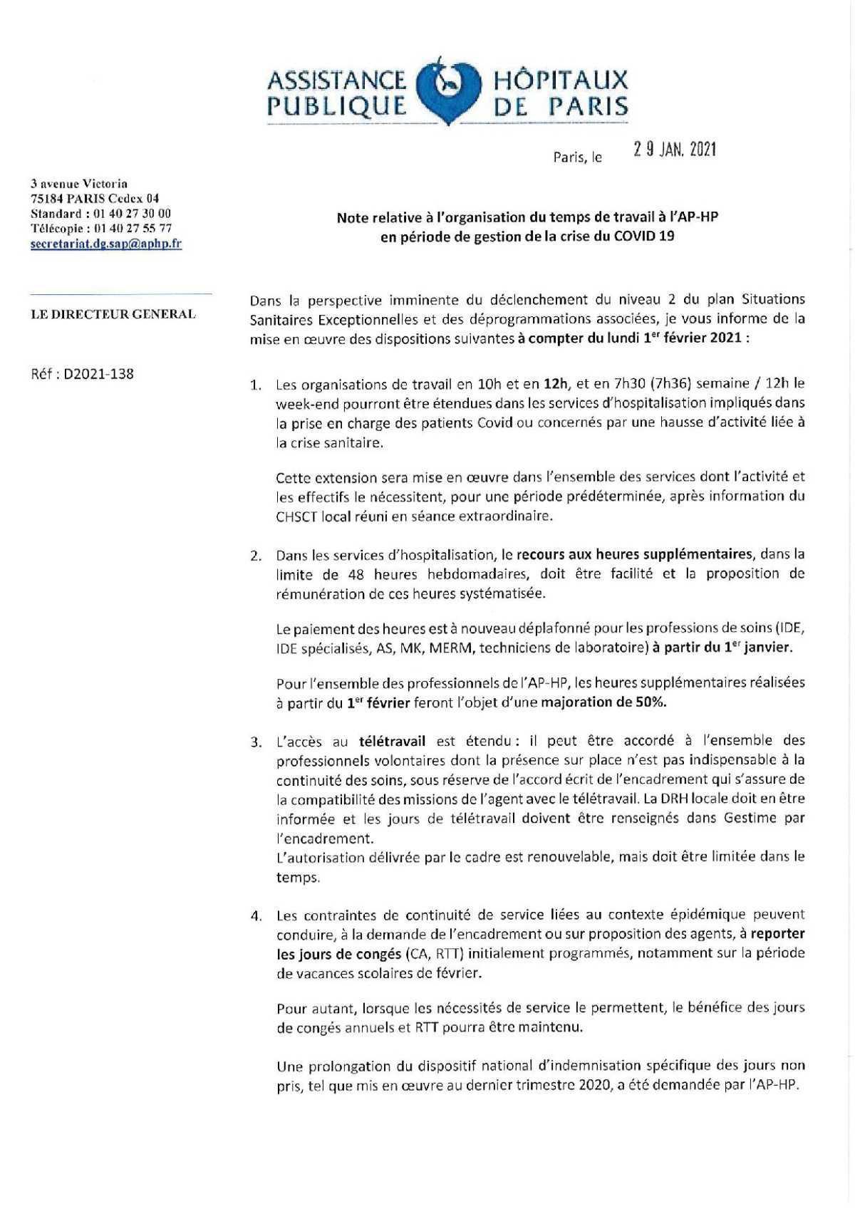 D2021-138 Note relative à l'organisation du temps de travail à l'AP-HP en période de gestion de la crise du COVID 19