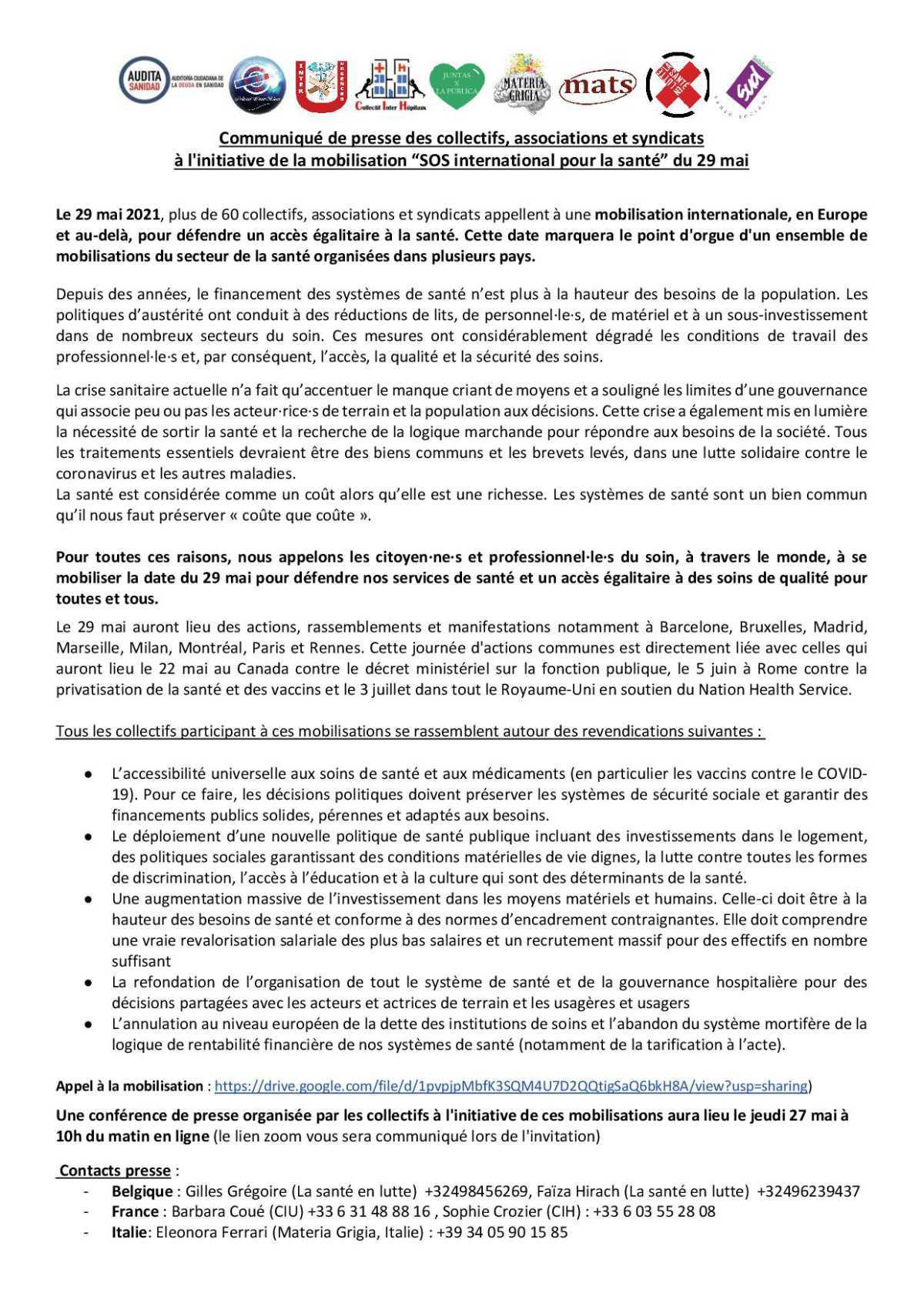 Communiqué de Presse pour la mobilisation internationale de la santé le 29/05/2021