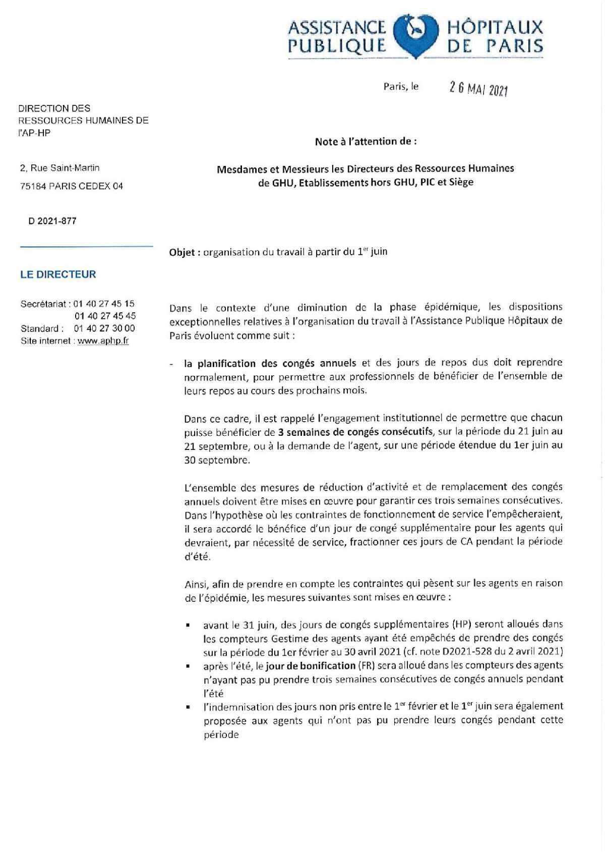 Organisation du travail à compter du 1er juin à l'APHP