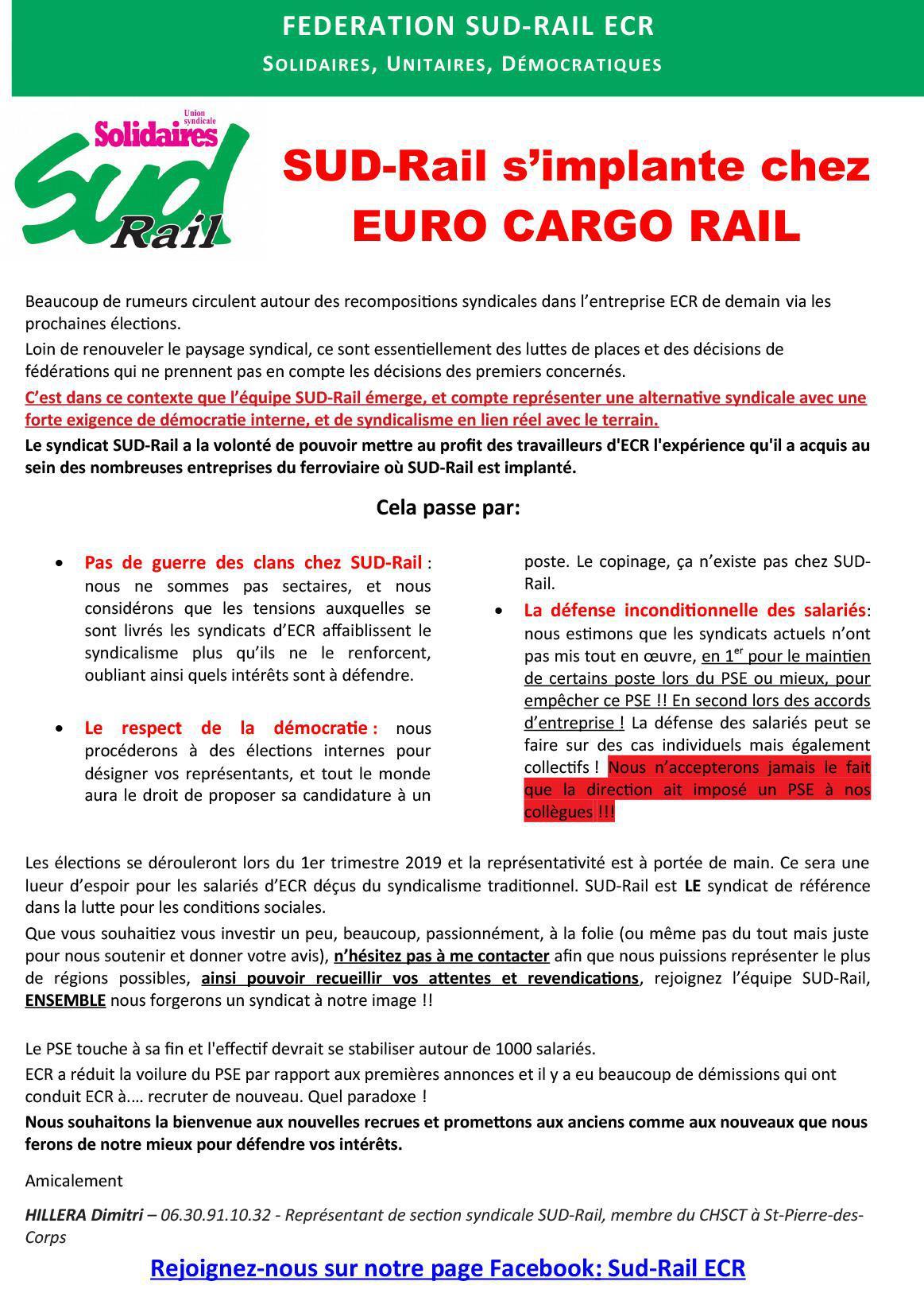 SUD-RAIL S'IMPLANTE CHEZ EURO CARGO RAIL !