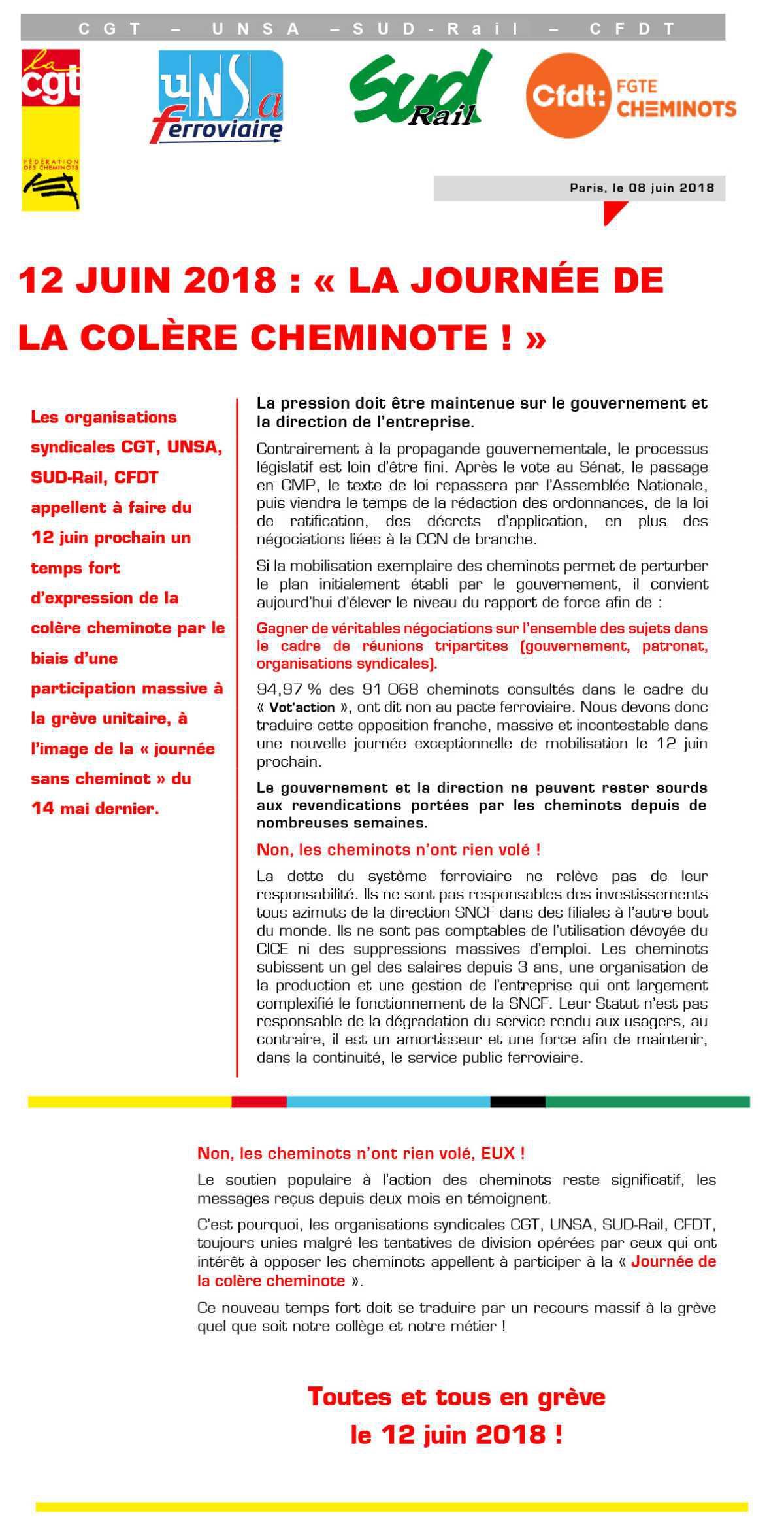 12 JUIN 2018 : « LA JOURNÉE DE LA COLÈRE CHEMINOTE ! »