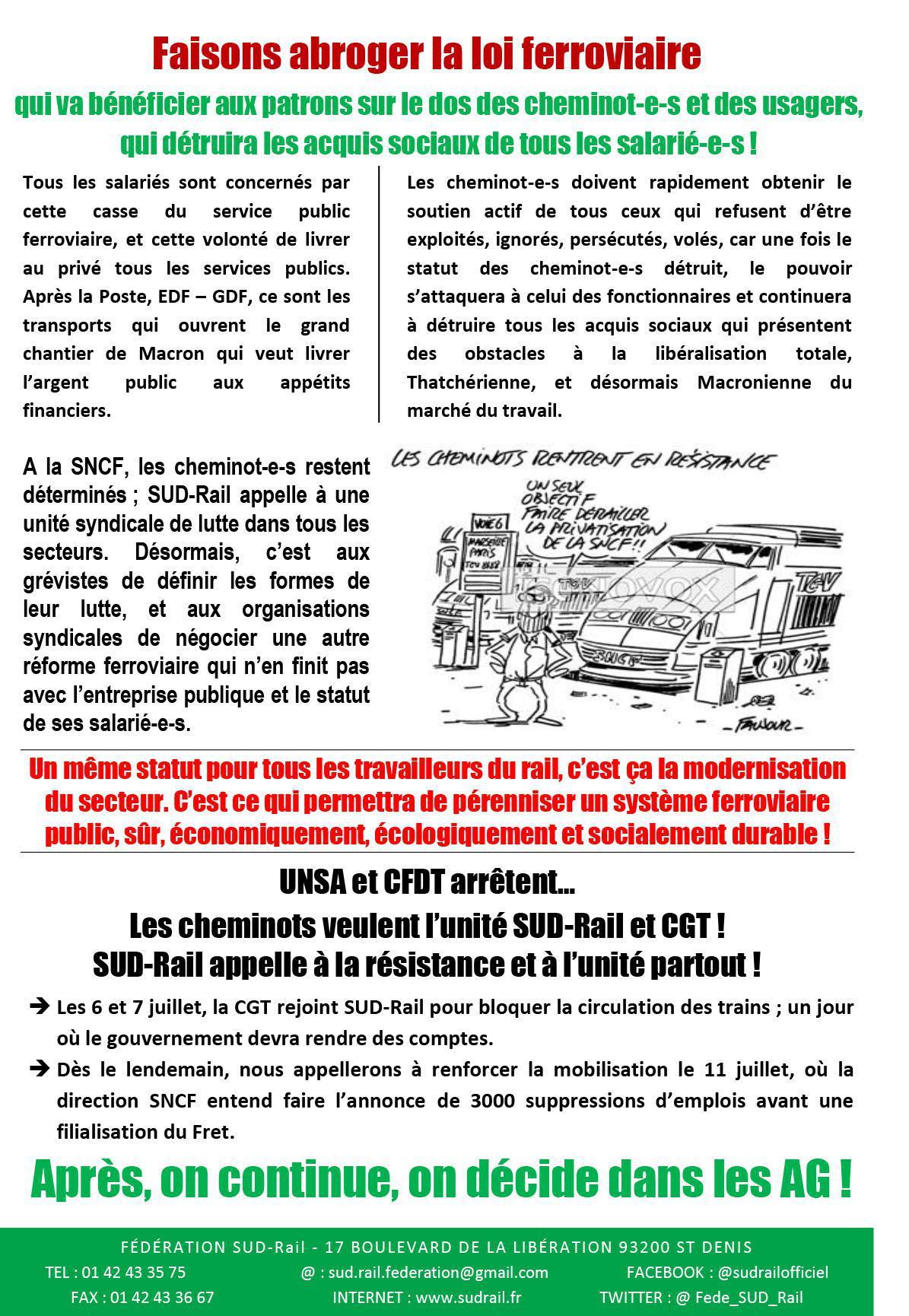 RAIL À DÉFENDRE N°28 - SUD-RAIL APPELLE À POURSUIVRE LA LUTTE !