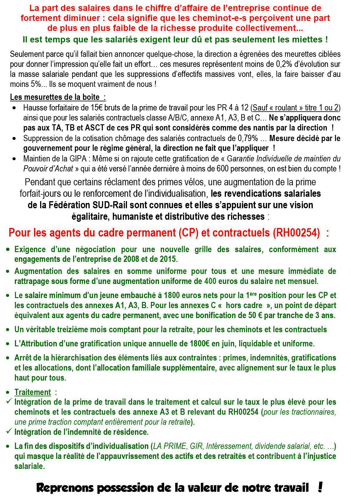 SALAIRES 2018 : LA DIRECTION ANNONCE UNE 4ÈME ANNÉE À 0 % D'AUGMENTATION GÉNÉRALE !