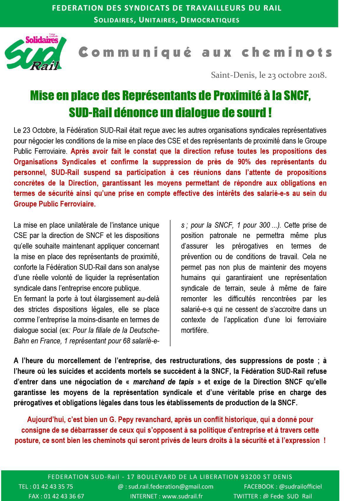 Mise en place des Représentants de Proximité à la SNCF, SUD-Rail dénonce un dialogue de sourd !