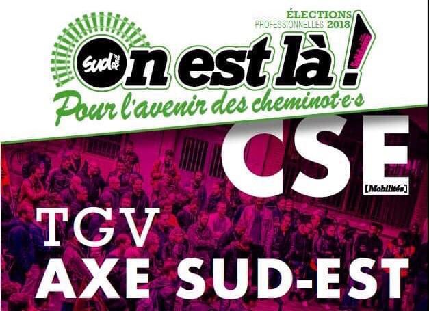 Listes des candidat(es) SUD Rail pour le CSE TGV Axe Sud Est