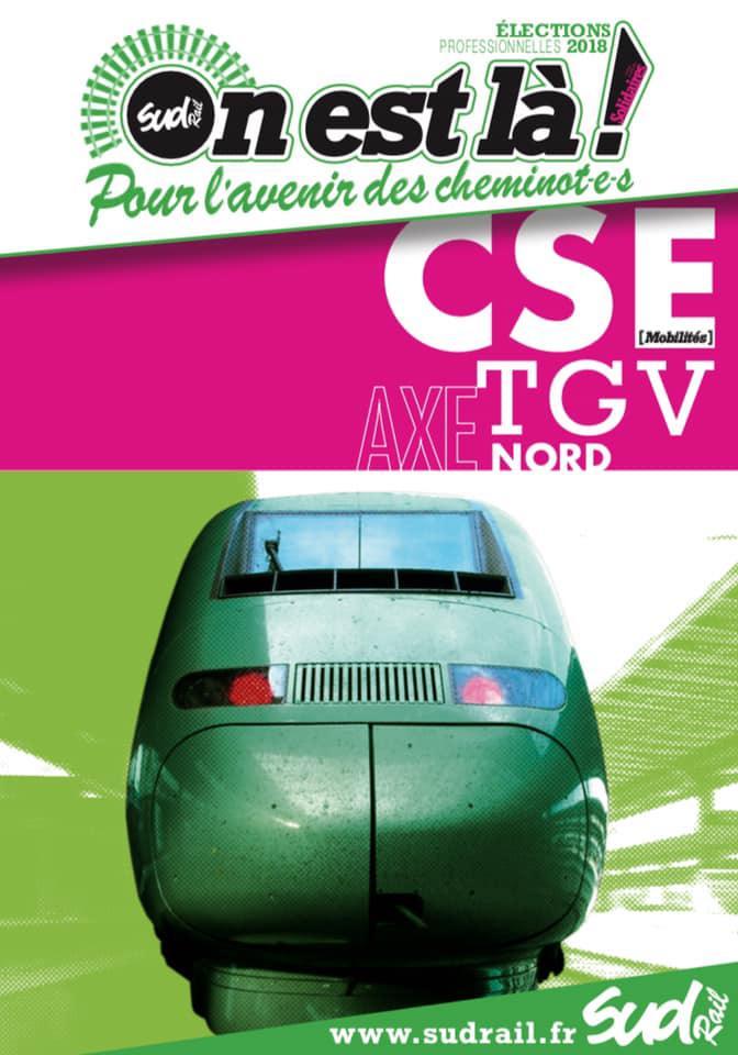 Listes des candidat(es) SUD Rail pour le CSE TGV Axe Nord