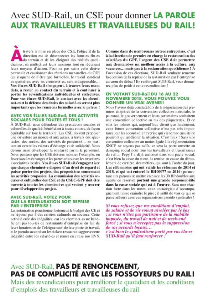 Listes des candidat(es) SUD Rail pour le CSE TGV Atlantique