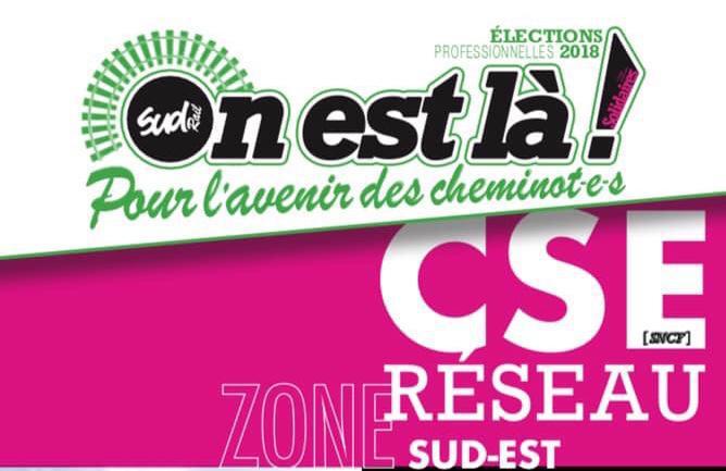 Listes des candidat(es) SUD Rail pour le CSE Réseau Sud Est