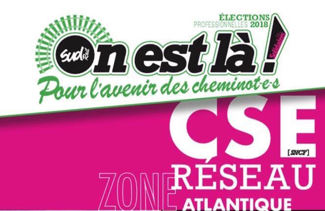 Listes des candidat(es) SUD Rail sur le CSE Réseau Atlantique