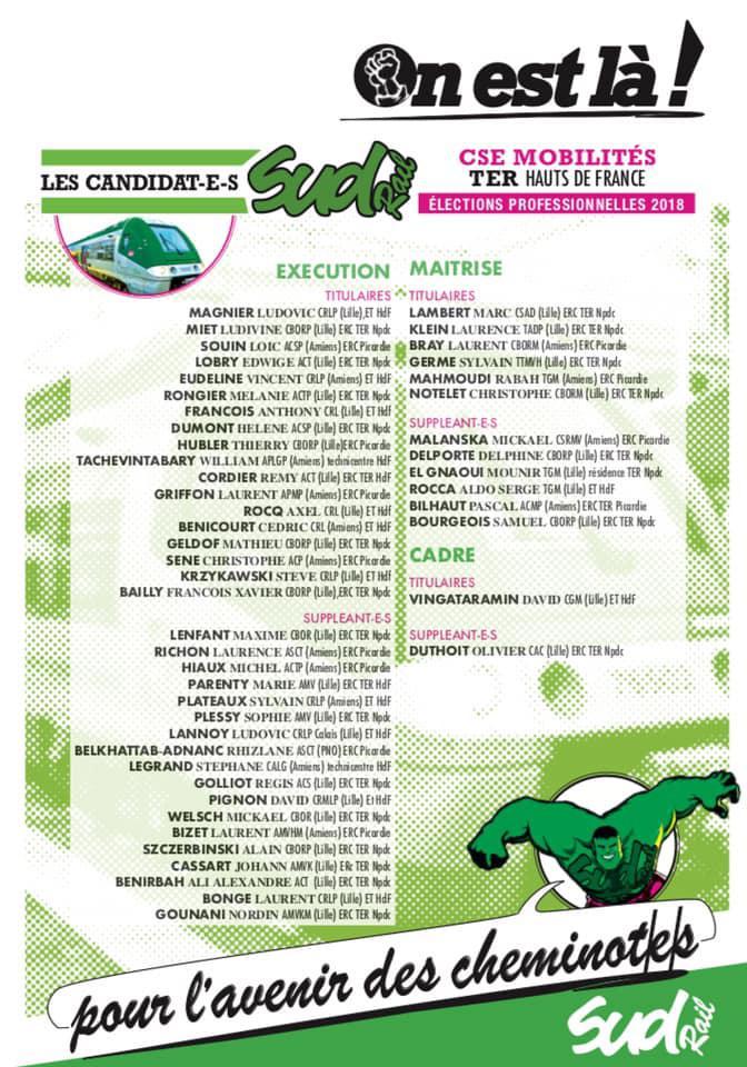 Listes des candidat(es) SUD Rail pour le CSE TER Haut de France