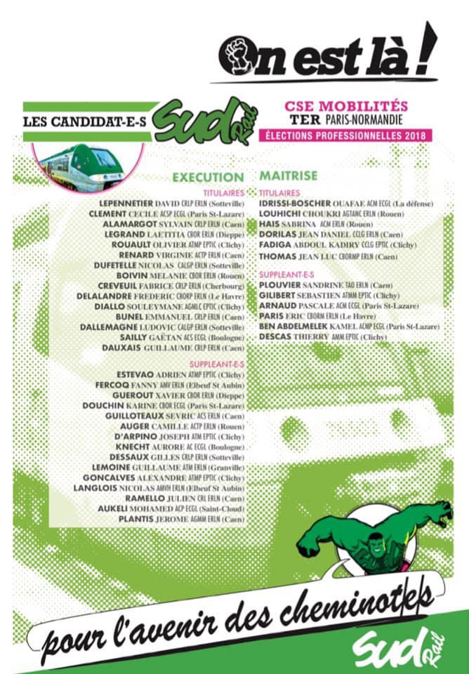Listes des candidat(es) SUD Rail pour le CSE TER Paris Normandie