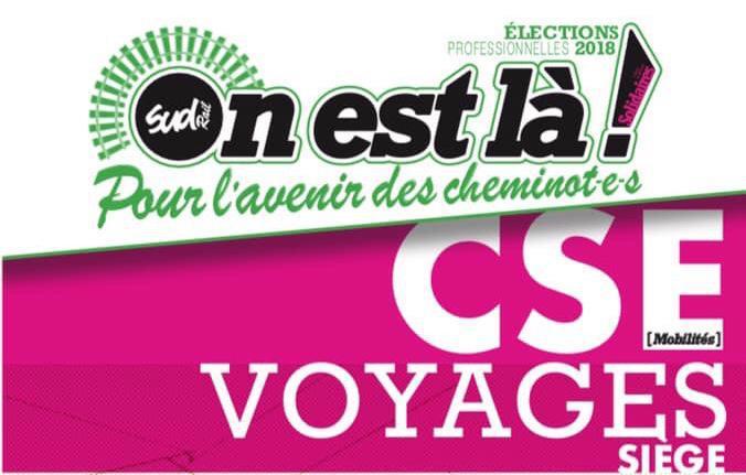 Listes des candidat(es) SUD Rail sur le CSE Voyages Siège