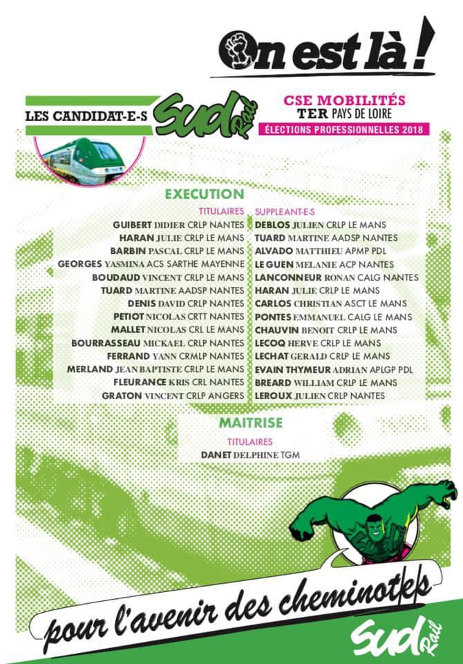 Listes des candidat(es) SUD Rail pour le CSE TER Pays de Loire