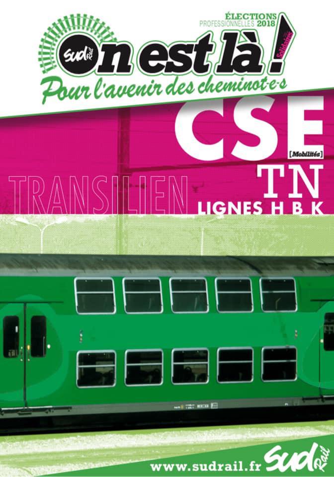 Listes des candidat(es) SUD Rail pour le CSE Transilien Lignes H B K